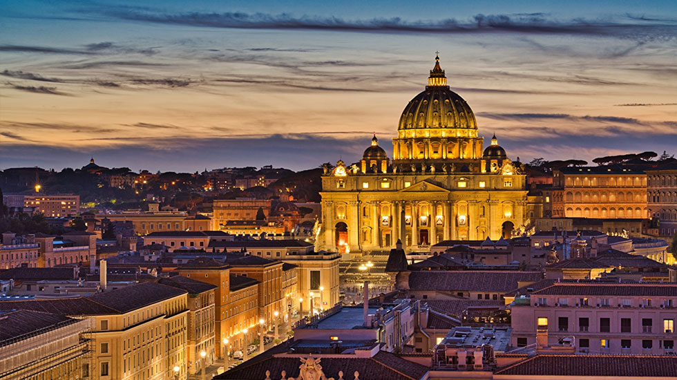 Evening_Houses_Italy_Rome_St._Peter_'s_Basilica - Tour Du Lịch Ý