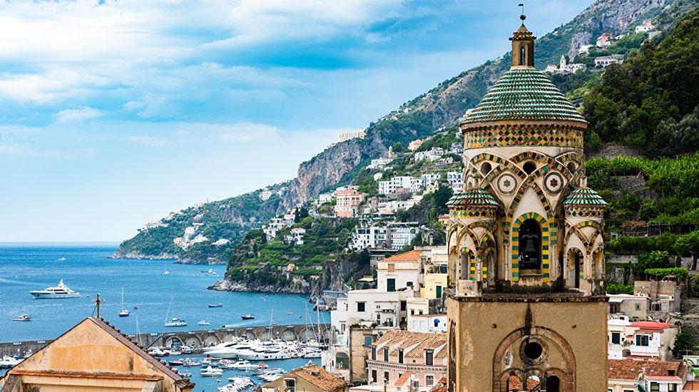Italy_Mountains_Coast_Church_Houses_Yacht_Amalfi - Tour Du Lịch Ý